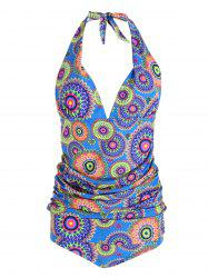 Tribal Print Plus Size Halter Tankini Set -