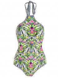One Piece Plus Size Tropical Print Swimsuit -