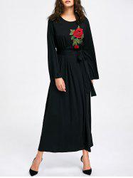 Embroidery Long Sleeve Maxi Dress -