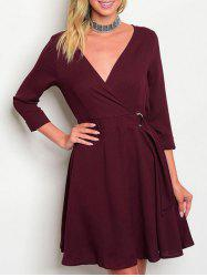 V Neck Surplice A Line Dress -