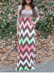 Zigzag Print Maxi Dress -