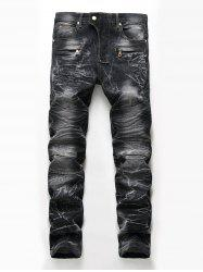 Straight Leg Snow Wash Biker Jeans -