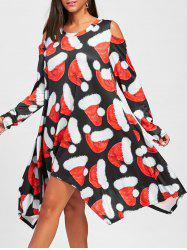 Christmas Hat Printed Cold Shoulder Asymmetrical Dress -
