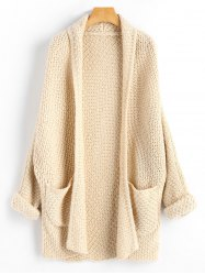 Open Front Curled Sleeve Batwing Cardigan -