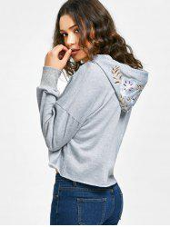 Floral Embroidered Cropped Hoodie -