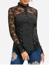 Halloween Lace Yoke Lace Up Blouse -