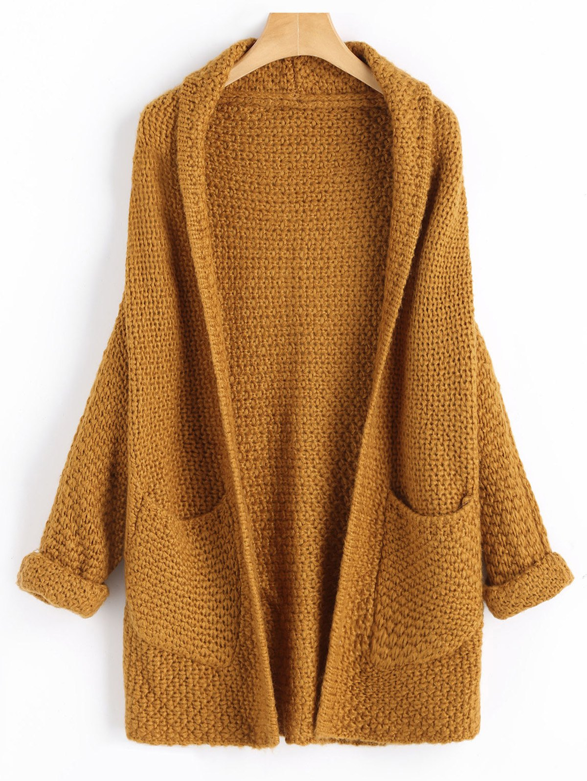 Open Front Curled Sleeve Batwing CardiganWOMEN<br><br>Size: ONE SIZE; Color: LIGHT COFFEE; Type: Cardigans; Material: Acrylic,Cotton,Polyester; Sleeve Length: Full; Collar: Shawl Collar; Style: Fashion; Pattern Type: Solid; Weight: 0.6700kg; Package Contents: 1 x Cardigan;
