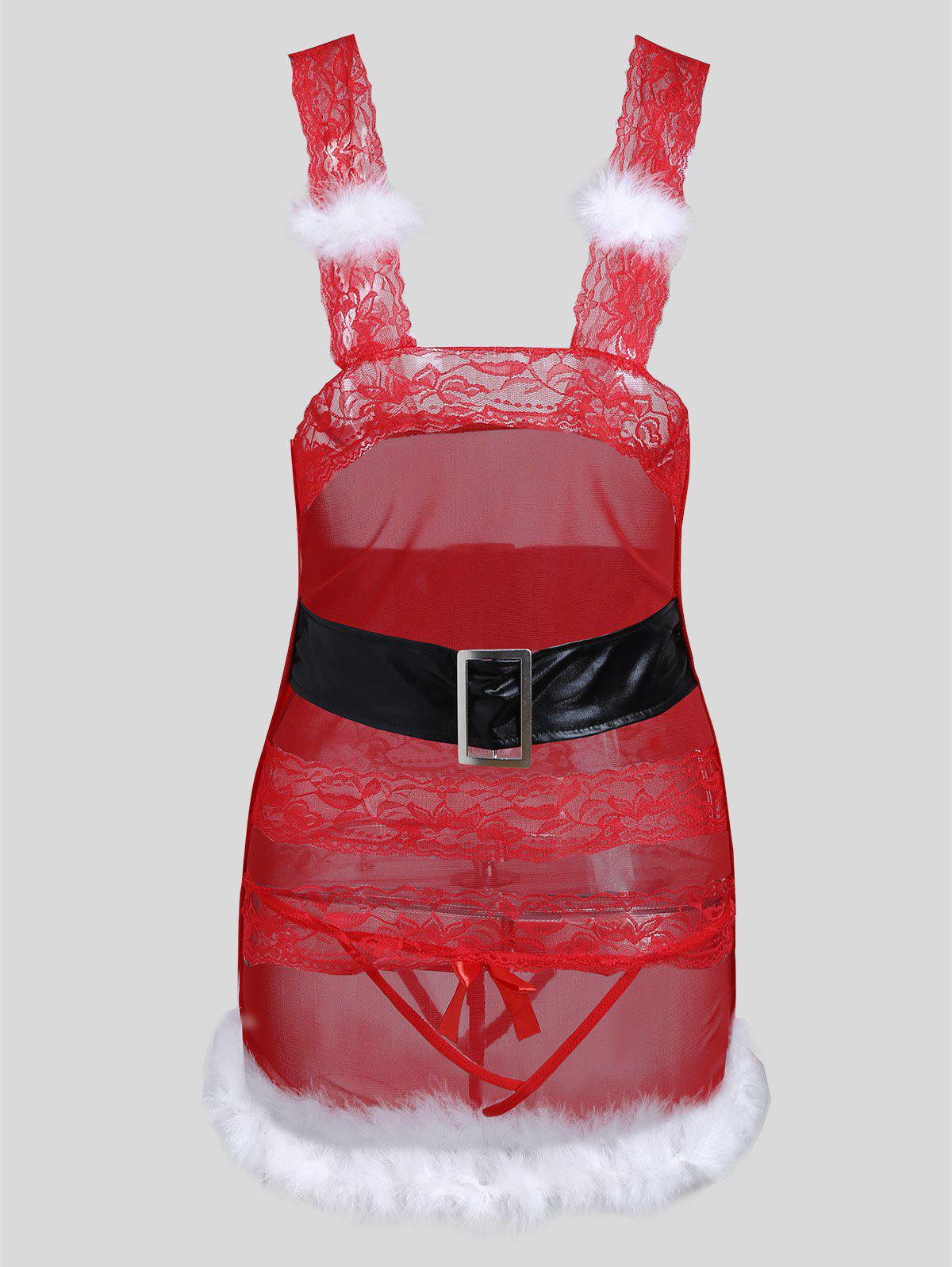 Sale Cut Out Lace Christmas Feather Dress