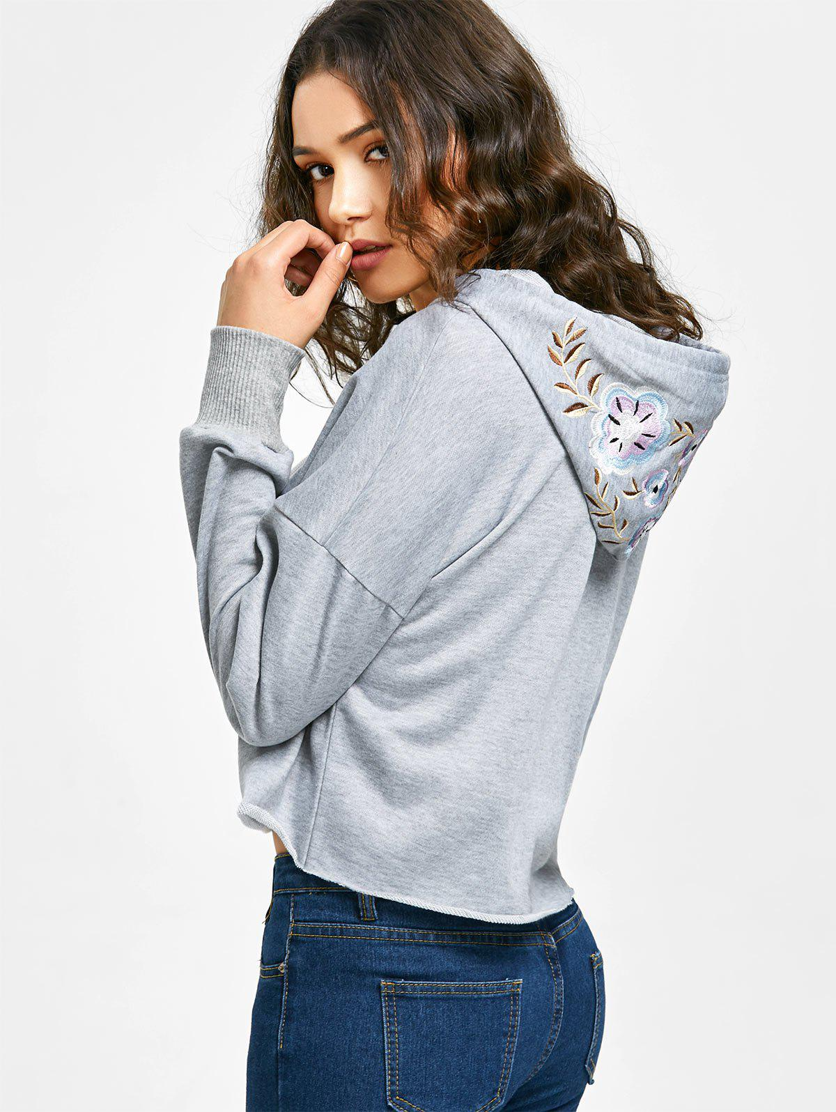 Sale Floral Embroidered Cropped Hoodie