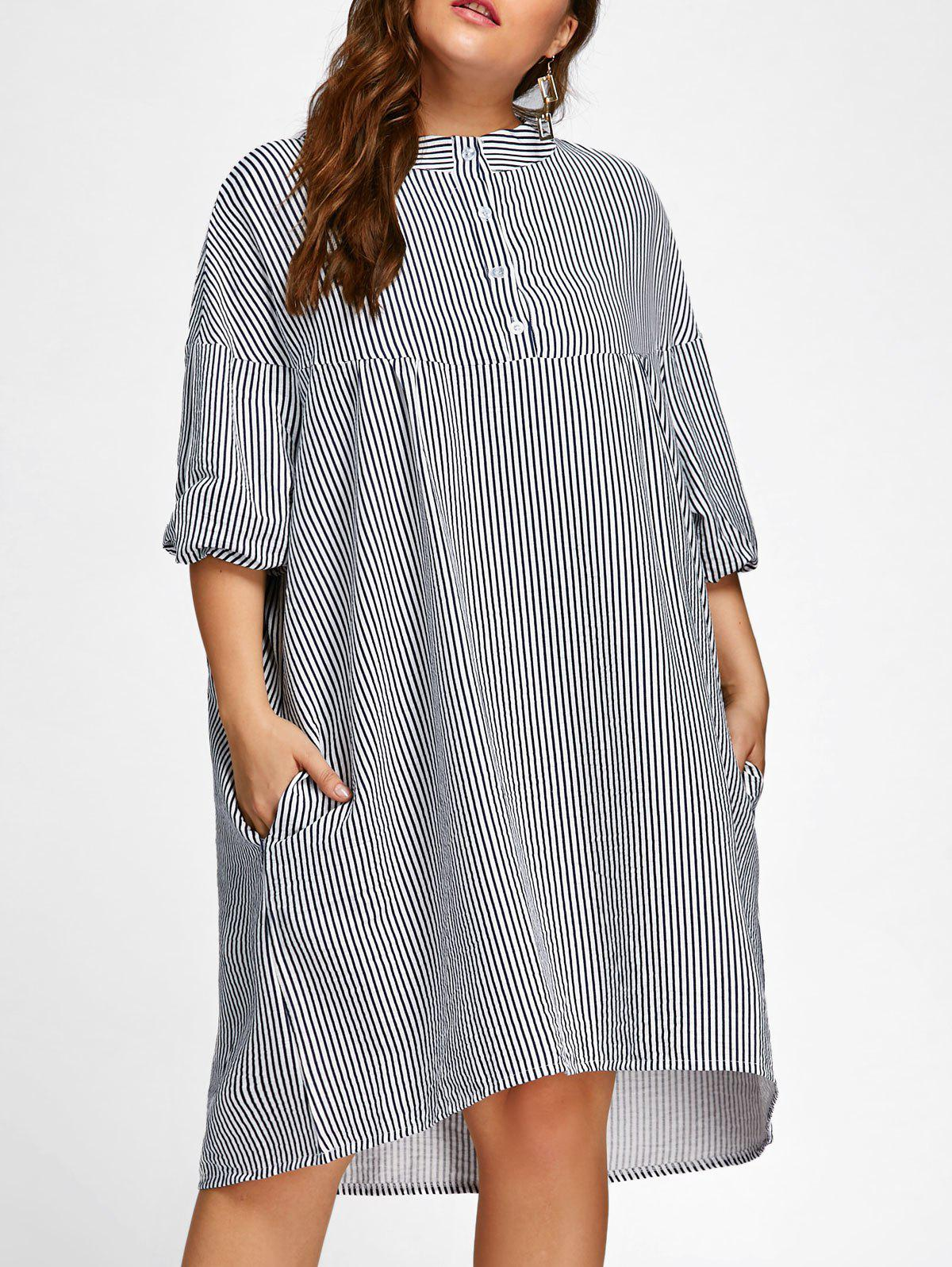 Plus Size Pinstripe Tunic Smock Dress