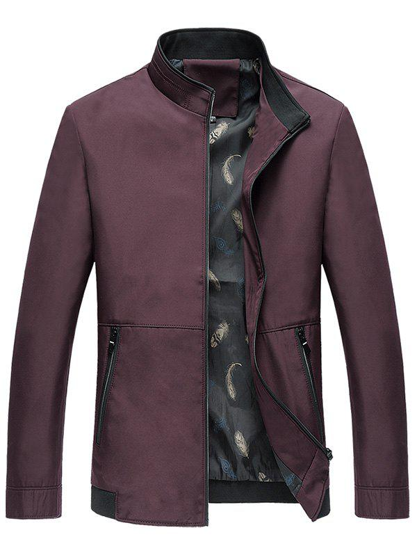 Classic Stand Collar Zip Up Jacket