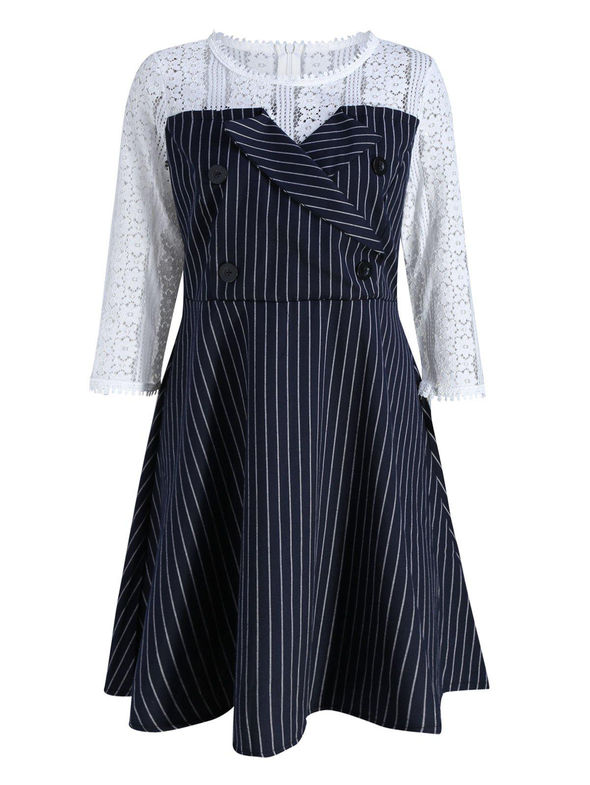Plus Size Lace Panel Double Buckle Embellished DressWOMEN<br><br>Size: 5XL; Color: BLUE; Style: Cute; Material: Polyester; Silhouette: A-Line; Dresses Length: Knee-Length; Neckline: Round Collar; Sleeve Length: 3/4 Length Sleeves; Waist: High Waisted; Embellishment: Button,Hollow Out,Lace; Pattern Type: Striped; With Belt: No; Season: Fall,Winter; Weight: 0.4100kg; Package Contents: 1 x Dress;