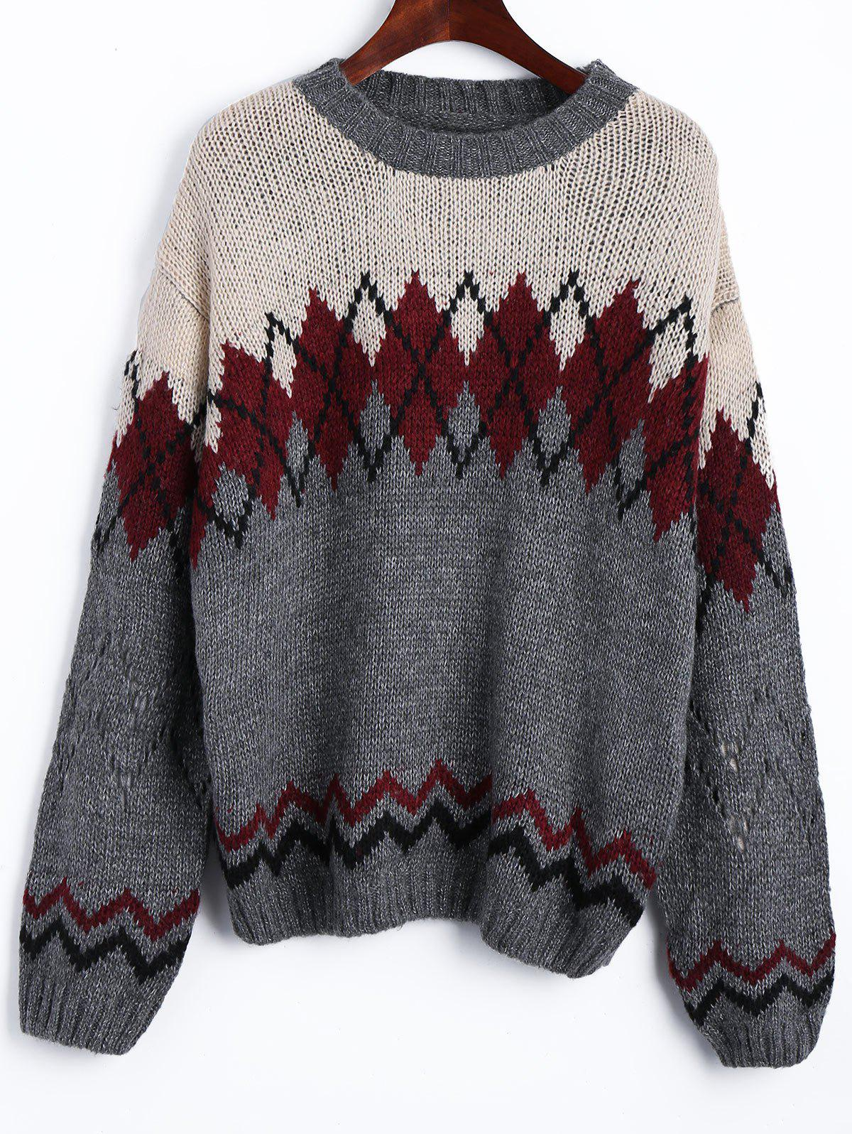Geometric Jacquard Drop Shoulder SweaterWOMEN<br><br>Size: ONE SIZE; Color: COLORMIX; Type: Pullovers; Material: Acrylic,Polyester; Sleeve Length: Full; Collar: Crew Neck; Style: Casual; Pattern Type: Geometric; Season: Fall,Spring; Weight: 0.5150kg; Package Contents: 1 x Sweater;