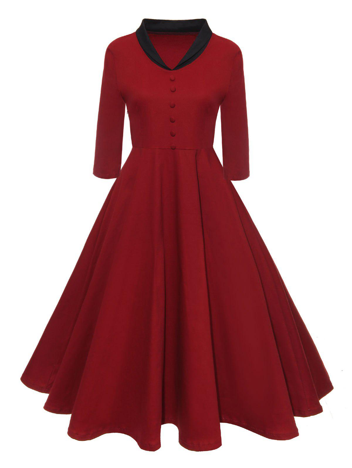 V-neck Half Button Vintage A Line DressWOMEN<br><br>Size: L; Color: RED; Style: Vintage; Material: Polyester,Spandex; Silhouette: A-Line; Dresses Length: Knee-Length; Neckline: V-Neck; Sleeve Length: 3/4 Length Sleeves; Pattern Type: Others; With Belt: No; Season: Fall,Spring; Weight: 0.3700kg; Package Contents: 1 x Dress;