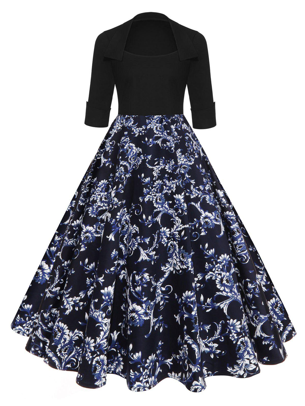 Vintage High Waist Floral A Line DressWOMEN<br><br>Size: 2XL; Color: BLUE; Style: Vintage; Material: Polyester,Spandex; Silhouette: A-Line; Dresses Length: Knee-Length; Neckline: Round Collar; Sleeve Length: 3/4 Length Sleeves; Pattern Type: Floral; With Belt: No; Season: Fall,Spring; Weight: 0.4500kg; Package Contents: 1 x Dress;