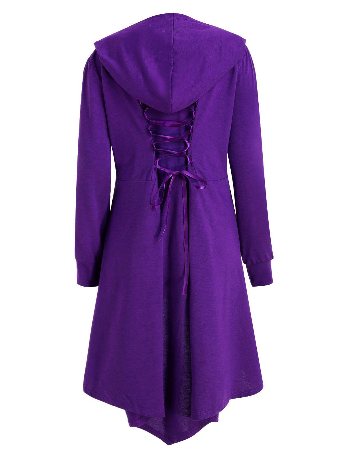 Plus Size Maxi High Low Hooded CoatWOMEN<br><br>Size: 3XL; Color: PURPLE; Clothes Type: Others; Material: Polyester; Type: Asymmetric Length; Shirt Length: X-Long; Sleeve Length: Full; Collar: Hooded; Pattern Type: Solid; Style: Fashion; Season: Fall,Winter; Weight: 0.5200kg; Package Contents: 1 x Coat;