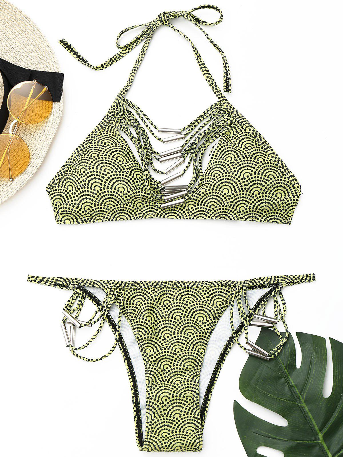Unique Strappy Halter Bikini Set