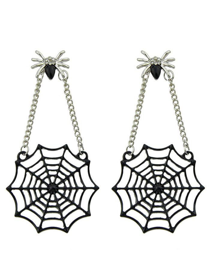 Spider Web Pendant Embellished Stud Drop EarringsJEWELRY<br><br>Color: BLACK; Earring Type: Drop Earrings; Gender: For Girls,For Women; Metal Type: Alloy; Style: Gothic; Shape/Pattern: Animal; Weight: 0.0600kg; Package Contents: 1 x Earrings(Pair);