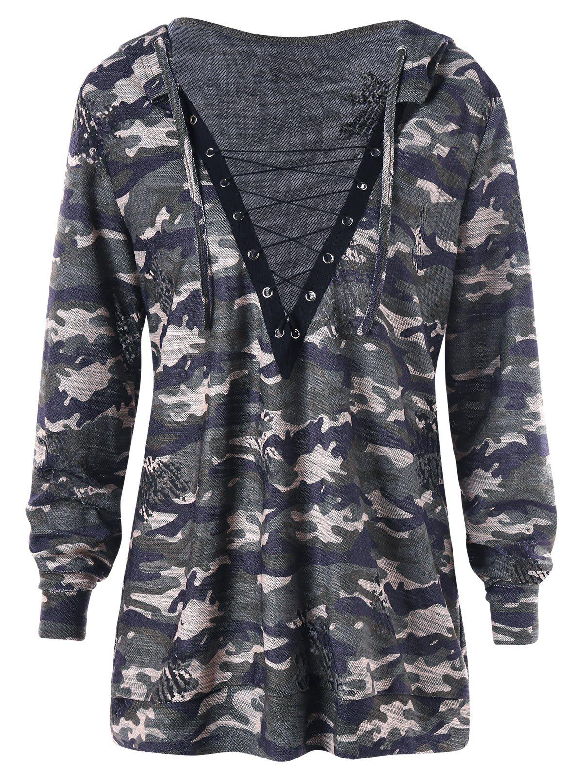 Plus Size Camouflage Lace Up Plunging HoodieWOMEN<br><br>Size: 2XL; Color: CAMOUFLAGE; Material: Polyester,Spandex; Shirt Length: Long; Sleeve Length: Full; Style: Streetwear; Pattern Style: Others; Season: Fall,Spring; Weight: 0.3700kg; Package Contents: 1 x Hoodie;