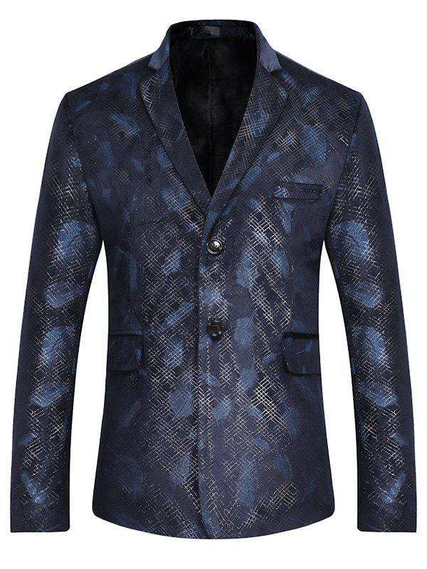 Fancy Lapel Feather Print Casual Blazer