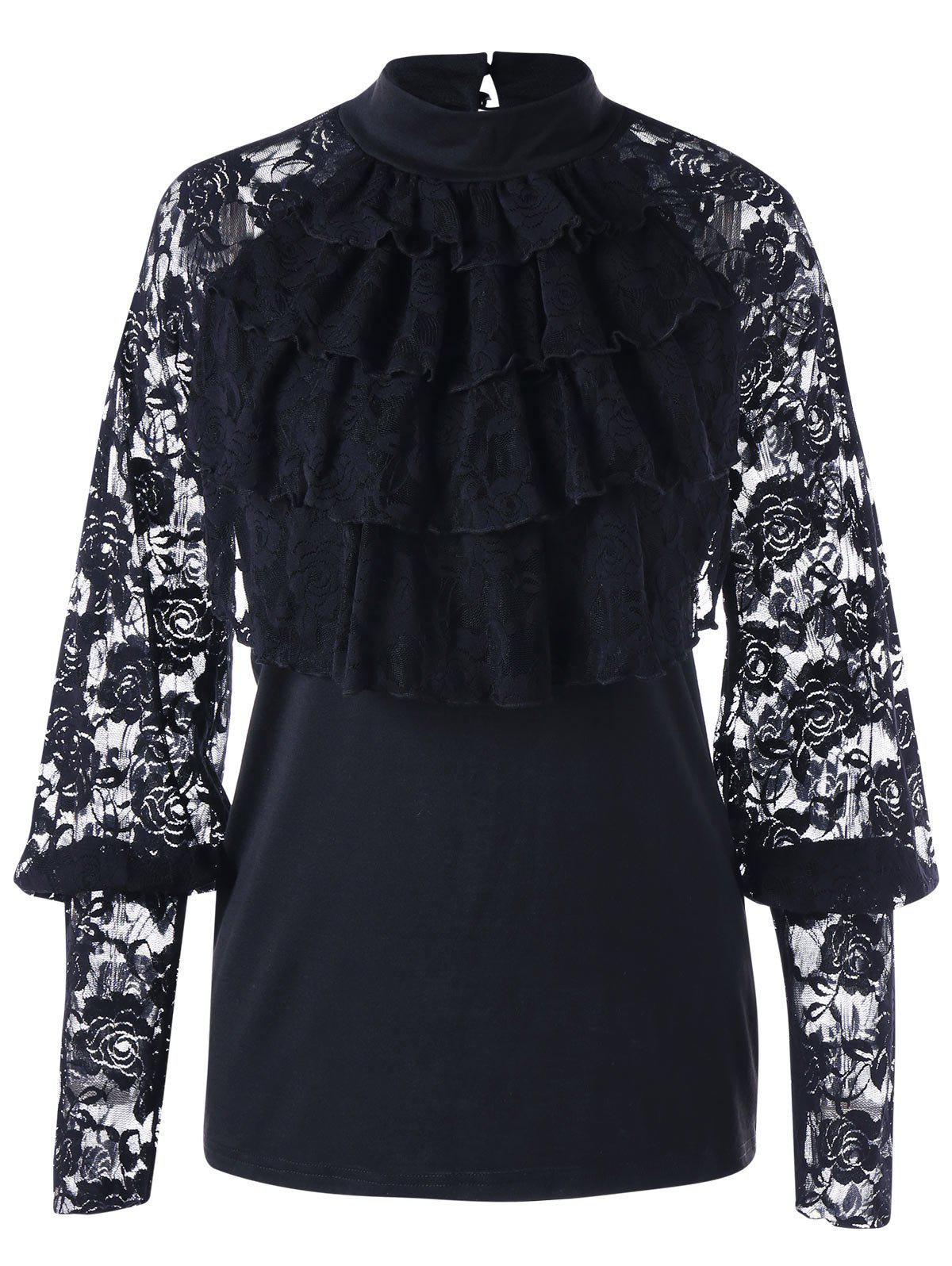 Halloween Lace Trim Layered Ruffle TopWOMEN<br><br>Size: L; Color: BLACK; Material: Polyester,Spandex; Shirt Length: Regular; Sleeve Length: Full; Collar: Mock Neck; Style: Fashion; Embellishment: Lace; Pattern Type: Floral; Season: Fall,Spring; Weight: 0.2700kg; Package Contents: 1 x Top;