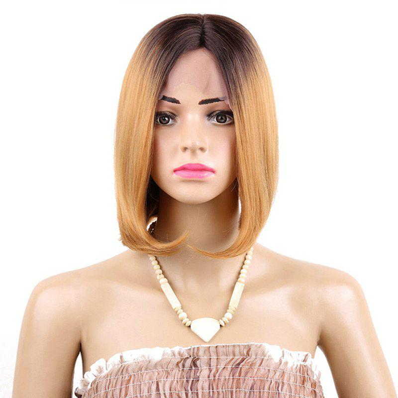 Latest Short Middle Part Straight Bob Ombre Synthetic Lace Front Wig