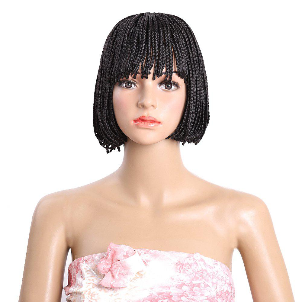 Short Neat Bang Micro Braids Bob Synthetic WigHAIR<br><br>Color: BLACK; Type: Full Wigs; Cap Construction: Capless; Style: Braid Hair; Material: Synthetic Hair; Bang Type: Full; Length: Short; Length Size(Inch): 10; Weight: 0.2500kg; Package Contents: 1 x Wig;