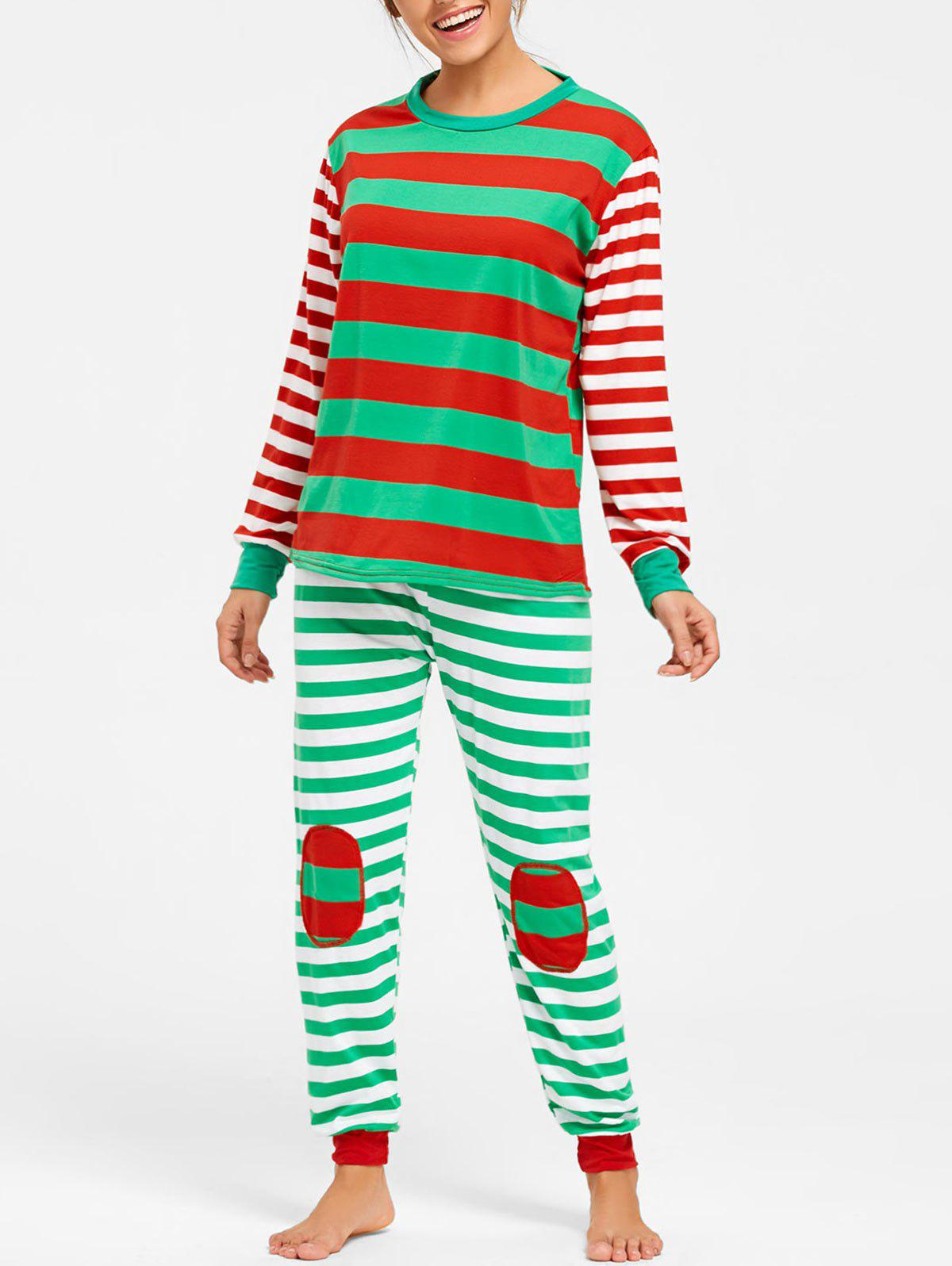 Striped Christmas Pajama SetWOMEN<br><br>Size: L; Color: COLORMIX; Material: Polyester; Pattern Type: Striped; Weight: 0.4800kg; Package Contents: 1 x Top  1 x Pants;