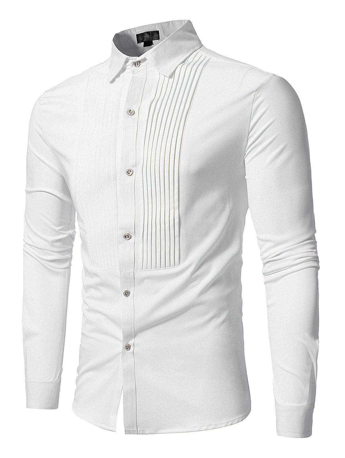 Front Pleated Button Long Sleeve ShirtMEN<br><br>Size: L; Color: WHITE; Shirts Type: Casual Shirts; Material: Polyester; Sleeve Length: Full; Collar: Turn-down Collar; Pattern Type: Solid; Weight: 0.3500kg; Package Contents: 1 x Shirt;