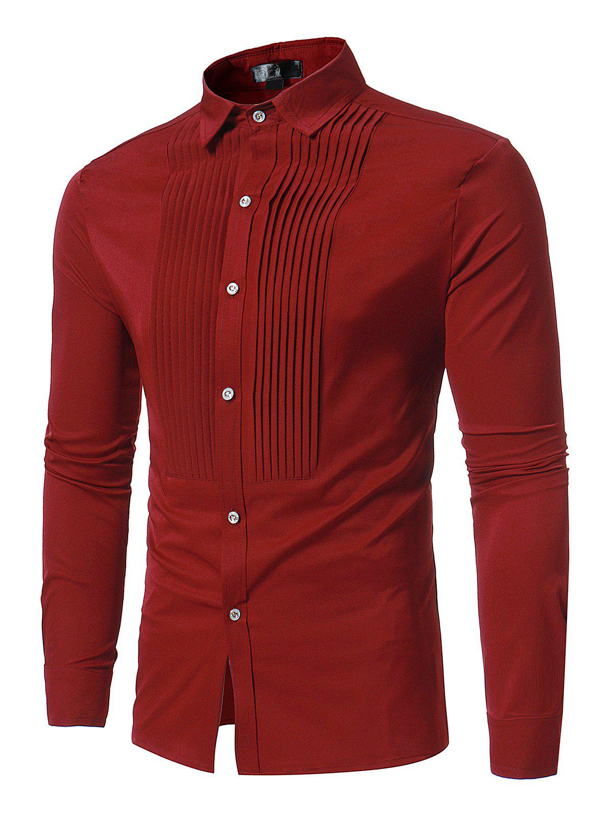 Front Pleated Button Long Sleeve ShirtMEN<br><br>Size: XL; Color: RED; Shirts Type: Casual Shirts; Material: Polyester; Sleeve Length: Full; Collar: Turn-down Collar; Pattern Type: Solid; Weight: 0.3500kg; Package Contents: 1 x Shirt;