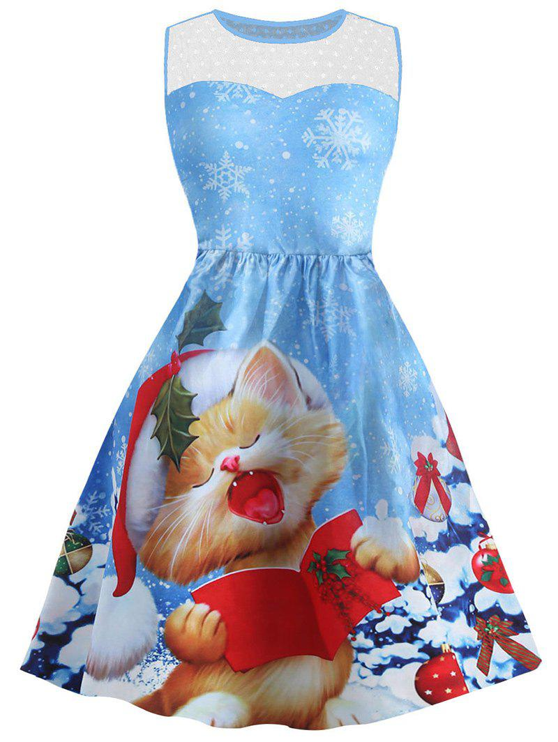Christmas Cat Snowflake Print Mesh Panel DressWOMEN<br><br>Size: L; Color: BLUE; Style: Vintage; Material: Cotton,Polyester; Silhouette: A-Line; Dresses Length: Mini; Neckline: Round Collar; Sleeve Length: Sleeveless; Embellishment: Mesh; Pattern Type: Animal; With Belt: No; Season: Fall,Spring,Summer; Weight: 0.3700kg; Package Contents: 1 x Dress;