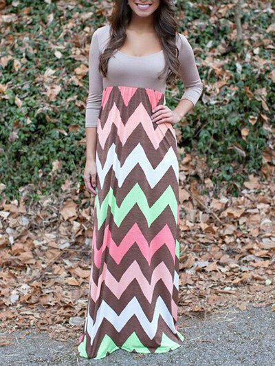 Zigzag Print Maxi Dress