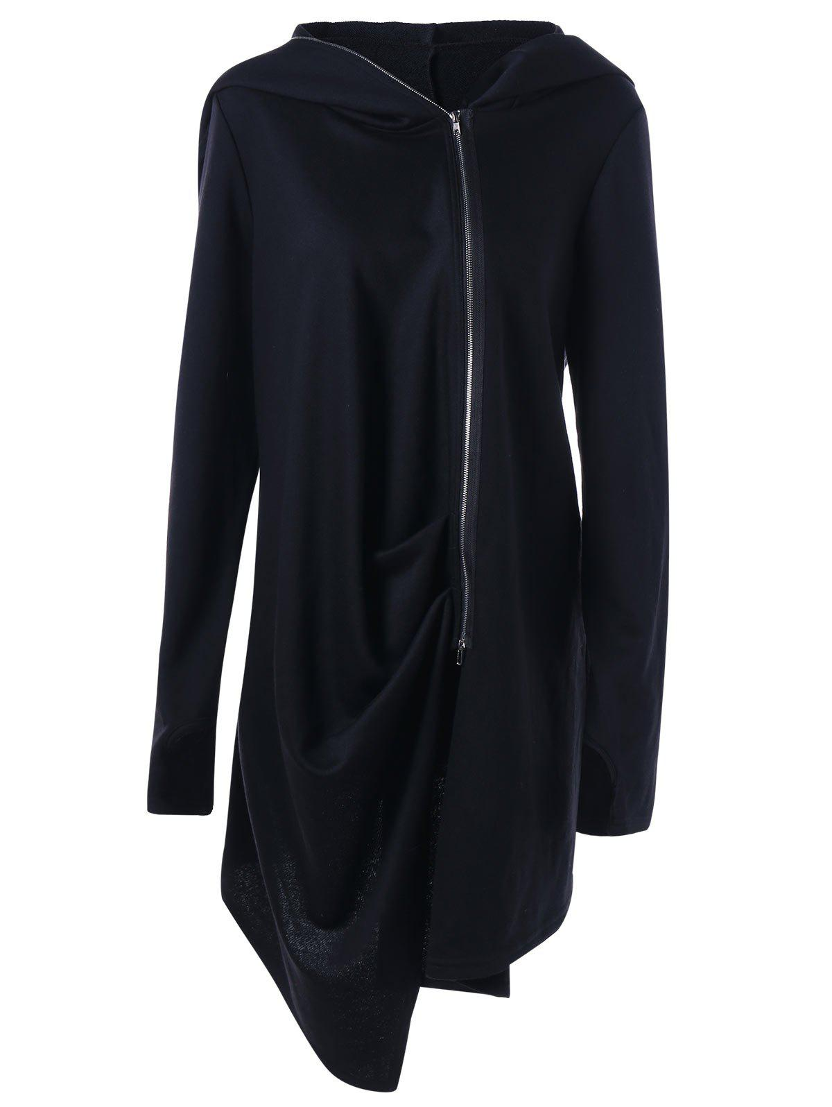 Plus Size Zip Up Hooded Asymmetrical CoatWOMEN<br><br>Size: 5XL; Color: BLACK; Clothes Type: Others; Material: Polyester; Type: Asymmetric Length; Shirt Length: Long; Sleeve Length: Full; Collar: Hooded; Pattern Type: Solid; Embellishment: Zippers; Style: Casual; Season: Fall,Spring; Weight: 0.8500kg; Package Contents: 1 x Coat;