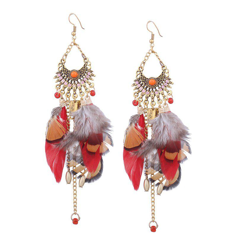 Alloy Chain Rhinestone Design Feather Hook EarringsJEWELRY<br><br>Color: RED; Earring Type: Drop Earrings; Gender: For Girls,For Women; Material: Rhinestone; Metal Type: Alloy; Style: Trendy; Shape/Pattern: Feather; Length: 14cm; Weight: 0.0180kg; Package Contents: 1 x Earring(Pair);