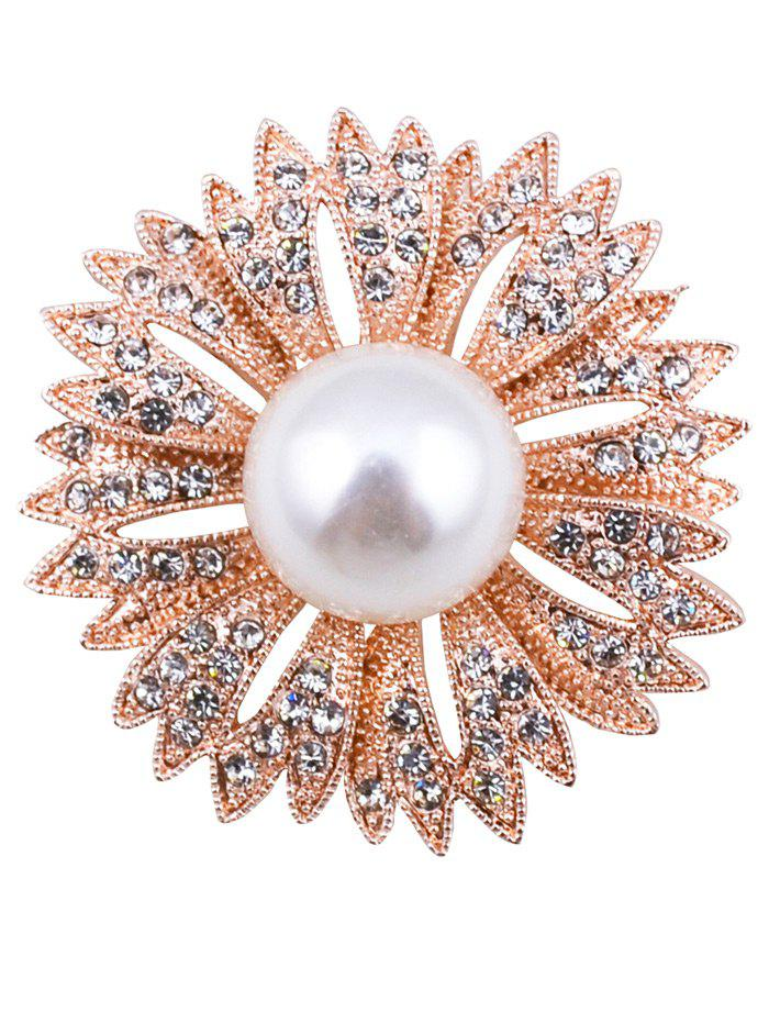 Cheap Sparkly Rhinestoned Faux Pearl Floral Brooch