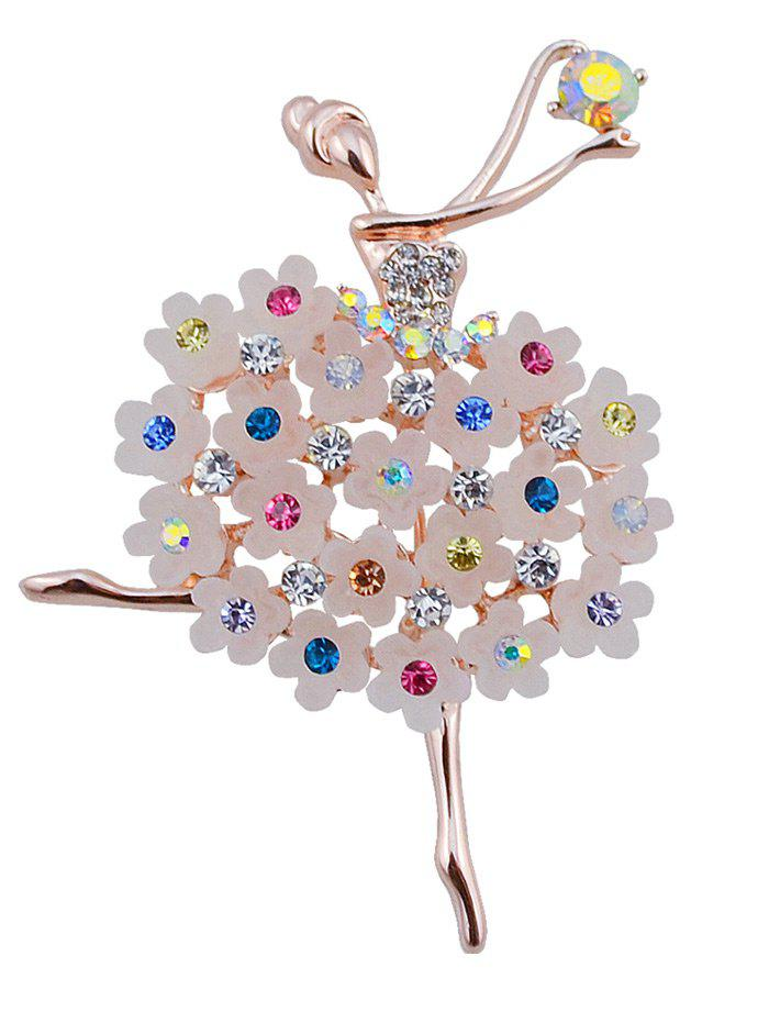 Rhinestoned Flower Dancing Fairy BroochJEWELRY<br><br>Color: COLORMIX; Brooch Type: Brooch; Gender: For Women; Material: Rhinestone; Style: Trendy; Shape/Pattern: Floral; Weight: 0.0300kg; Package Contents: 1 x Brooch;