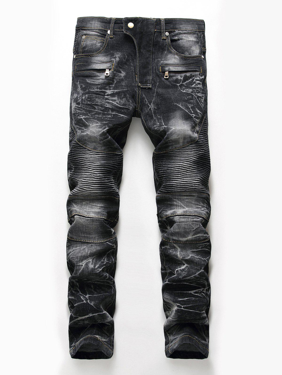 Straight Leg Snow Wash Biker JeansMEN<br><br>Size: 34; Color: BLACK; Material: Cotton,Polyester,Spandex; Pant Length: Long Pants; Wash: Snow Wash; Fit Type: Regular; Waist Type: Mid; Closure Type: Zipper Fly; Weight: 0.8100kg; Pant Style: Straight; Package Contents: 1 x Jeans; With Belt: No;