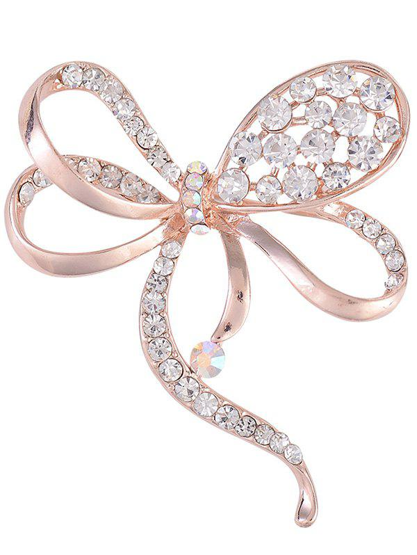 Rhinestone Hollow Out Bowknot Metal BroochJEWELRY<br><br>Color: ROSE GOLD; Brooch Type: Brooch; Gender: For Unisex; Material: Rhinestone; Metal Type: Alloy; Style: Noble and Elegant; Shape/Pattern: Bows; Weight: 0.0400kg; Package Contents: 1 x Brooch;