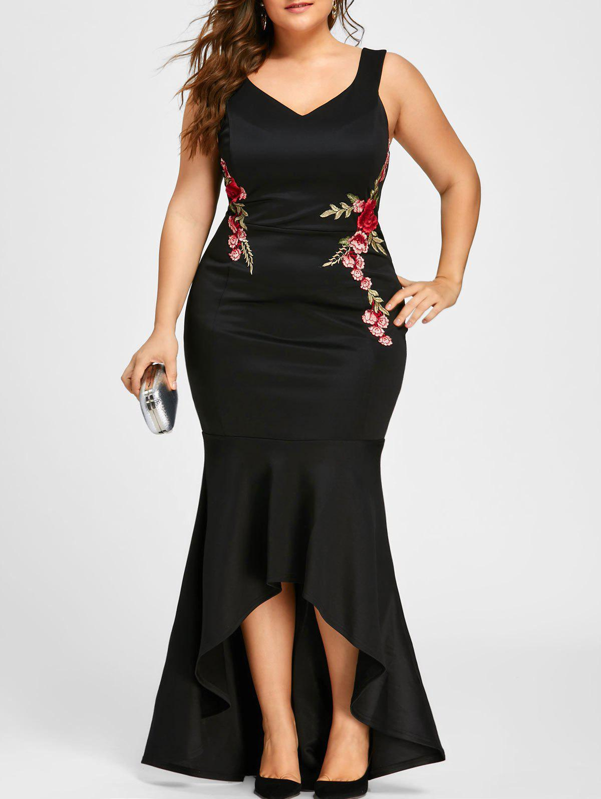 Plus Size Sleeveless Party Mermaid Engagement DressWOMEN<br><br>Size: 4XL; Color: BLACK; Style: Brief; Material: Polyester,Spandex; Silhouette: Trumpet/Mermaid; Dresses Length: Floor-Length; Neckline: V-Neck; Sleeve Length: Sleeveless; Embellishment: Appliques,Embroidery; Pattern Type: Floral; With Belt: No; Season: Fall,Spring,Summer; Weight: 0.5500kg; Package Contents: 1 x Dress;