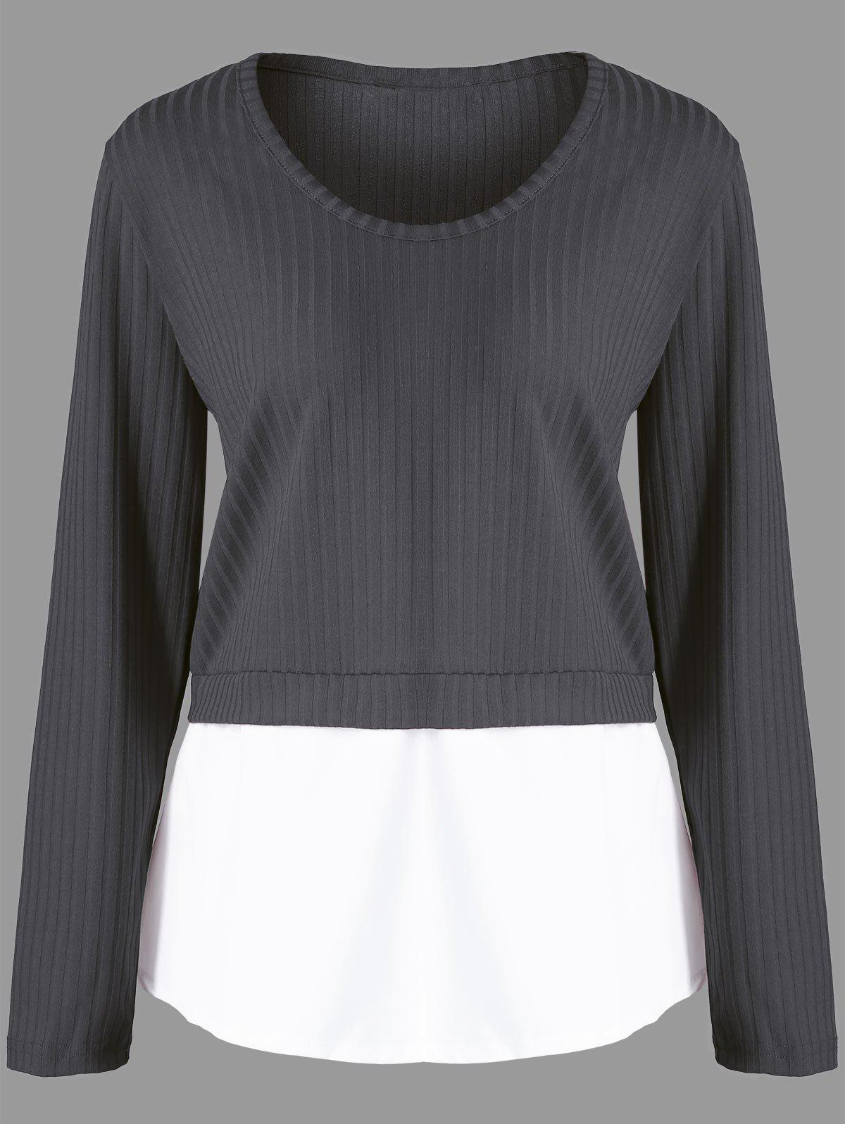 Unique Plus Size Contrast Panel Ribbed Knitted Sweater