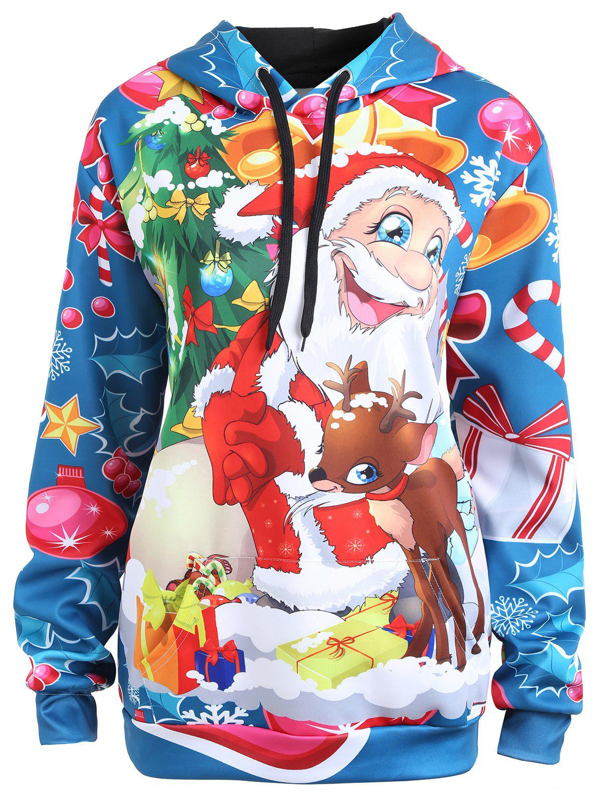 Plus Size Christmas Elk Santa Claus HoodieWOMEN<br><br>Size: 4XL; Color: LIGHT BLUE; Material: Cotton,Polyester; Shirt Length: Regular; Sleeve Length: Full; Style: Fashion; Pattern Style: Animal,Print; Season: Fall,Spring; Weight: 0.3500kg; Package Contents: 1 x Hoodie;