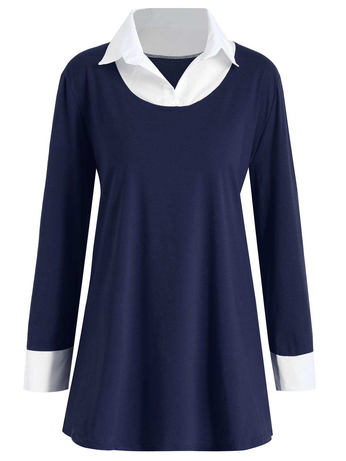 Two Tone Shirt Collar Plus Size TeeWOMEN<br><br>Size: 3XL; Color: PURPLISH BLUE; Material: Cotton,Polyester; Shirt Length: Long; Sleeve Length: Full; Collar: Shirt Collar; Style: Fashion; Season: Fall; Pattern Type: Others; Weight: 0.2950kg; Package Contents: 1 x T-shirt;