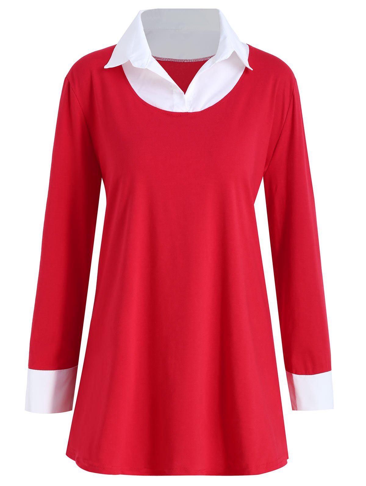 Two Tone Shirt Collar Plus Size TeeWOMEN<br><br>Size: 5XL; Color: RED; Material: Cotton,Polyester; Shirt Length: Long; Sleeve Length: Full; Collar: Shirt Collar; Style: Fashion; Season: Fall; Pattern Type: Others; Weight: 0.2950kg; Package Contents: 1 x T-shirt;