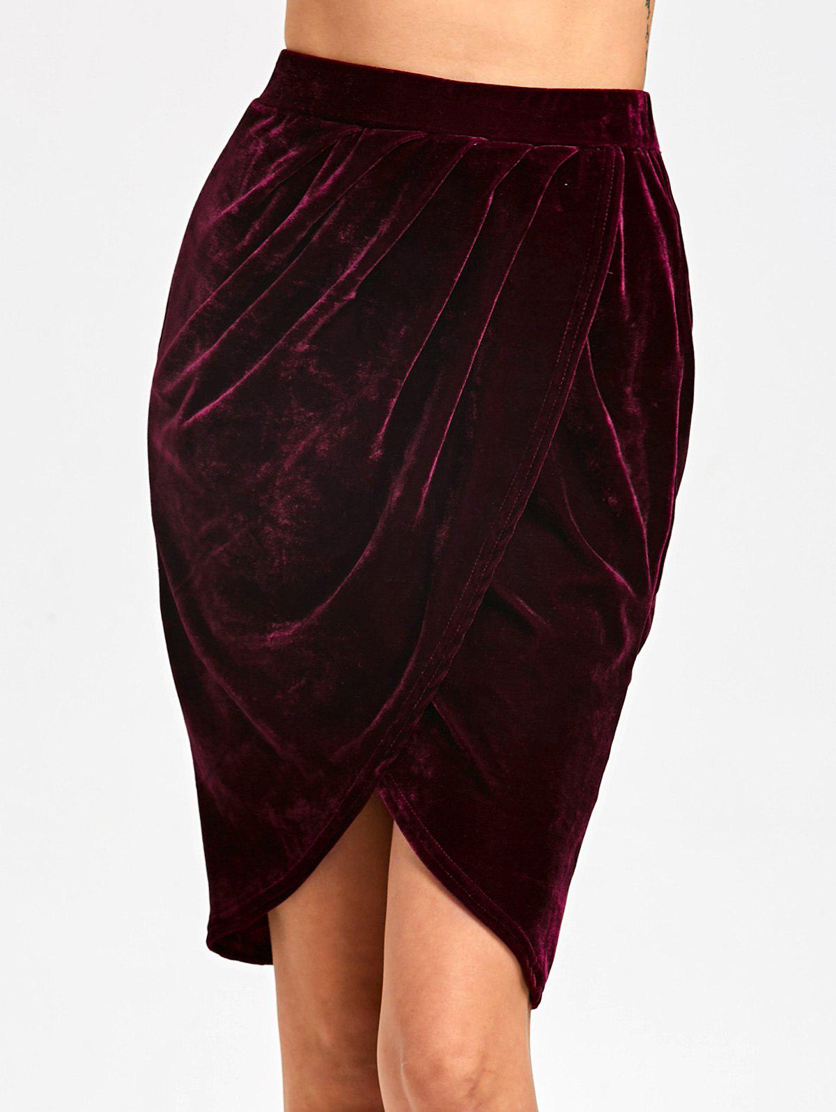 Cheap Knee Length Velvet Tulip Skirt