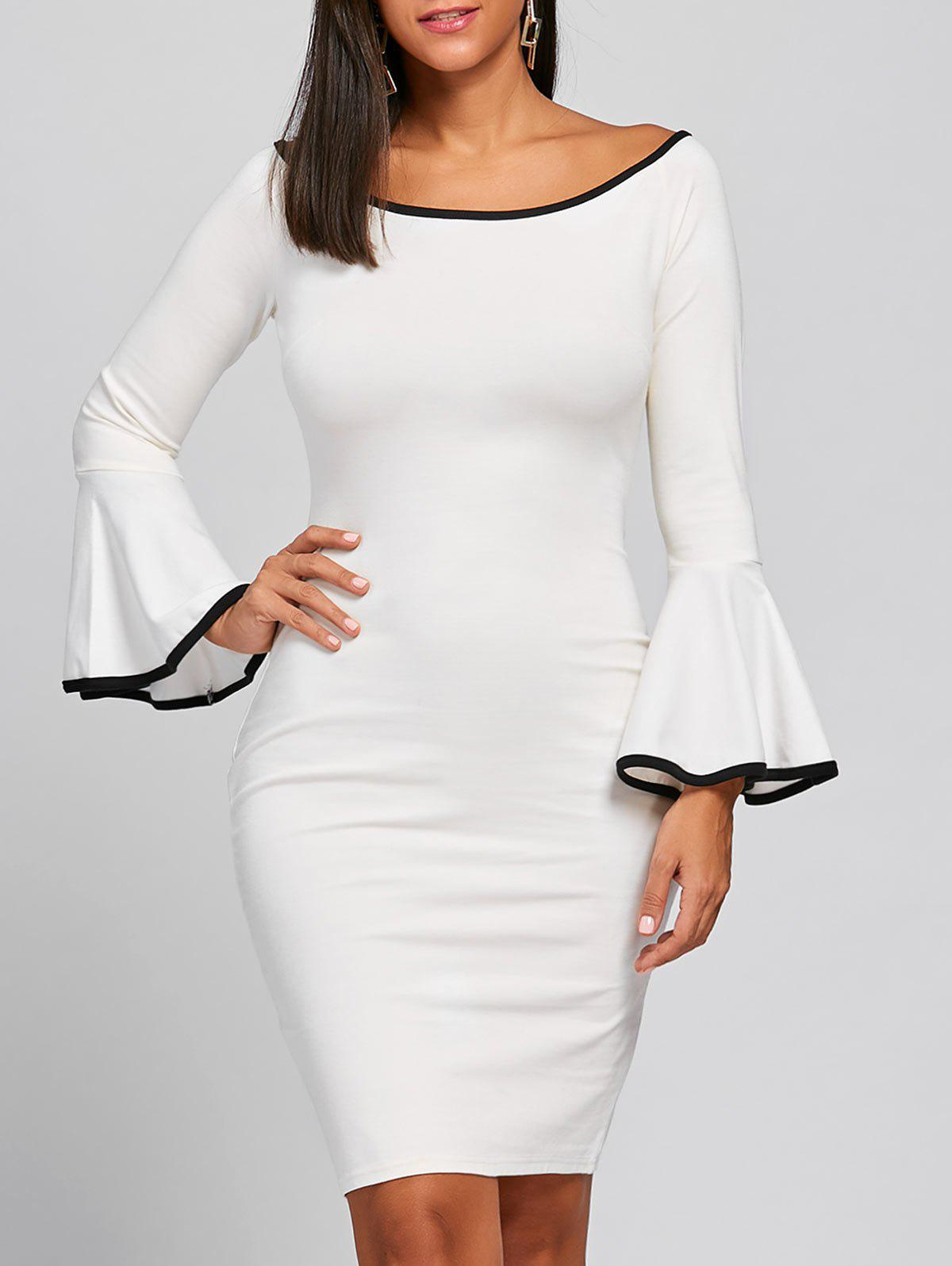 Boat Collar Bell Sleeve Bodycon DressWOMEN<br><br>Size: XL; Color: WHITE; Style: Gorgeous; Material: Polyester,Spandex; Silhouette: Bodycon; Dresses Length: Knee-Length; Neckline: Boat Neck; Sleeve Length: Long Sleeves; Pattern Type: Solid Color; With Belt: No; Season: Fall,Spring; Weight: 0.4000kg; Package Contents: 1 x Dress;