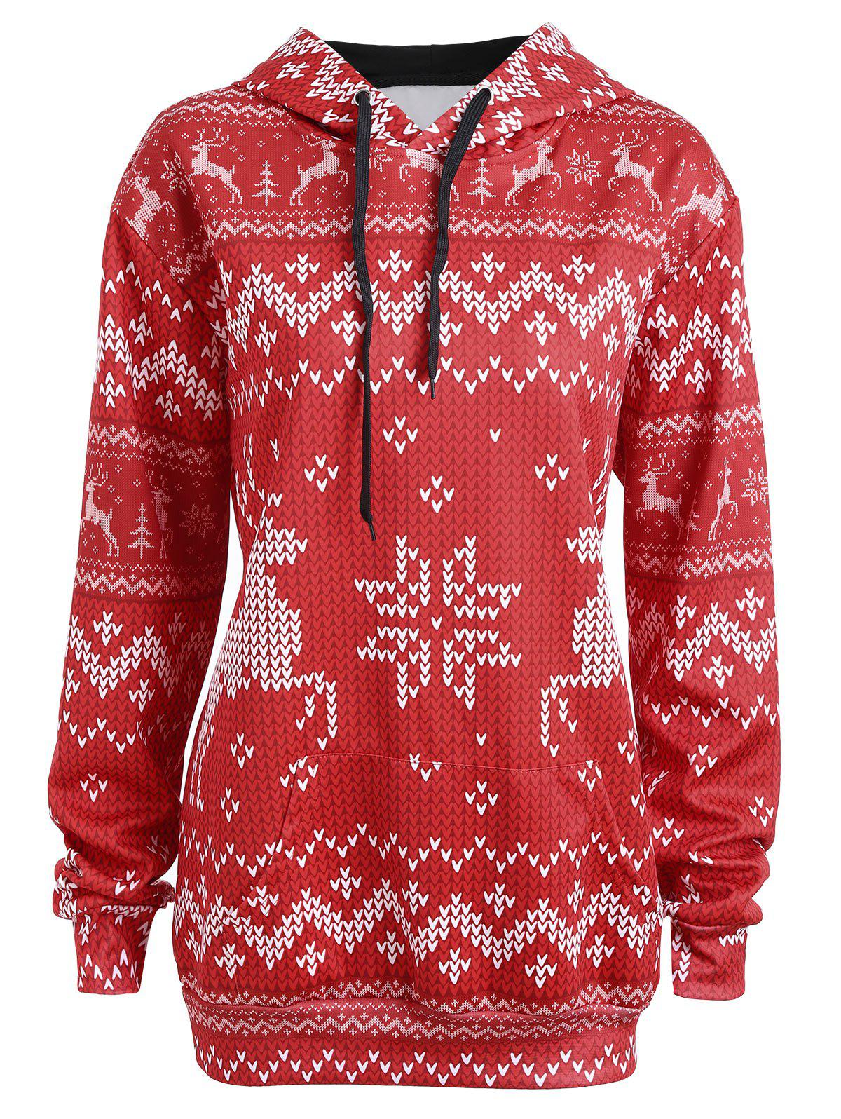 Plus Size Christmas Snowflake Elk HoodieWOMEN<br><br>Size: 5XL; Color: RED; Material: Cotton,Polyester; Shirt Length: Regular; Sleeve Length: Full; Style: Fashion; Pattern Style: Animal; Season: Fall,Spring; Weight: 0.3500kg; Package Contents: 1 x Hoodie;