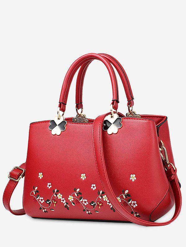 Flower Embroidery Metal Tote BagSHOES &amp; BAGS<br><br>Color: RED; Handbag Type: Totes; Style: Fashion; Gender: For Women; Embellishment: Flowers; Pattern Type: Floral; Handbag Size: Small(20-30cm); Closure Type: Zipper; Interior: Cell Phone Pocket; Occasion: Versatile; Main Material: PU; Weight: 0.8300kg; Size(CM)(L*W*H): 24*8*18; Package Contents: 1 x Tote Bag;