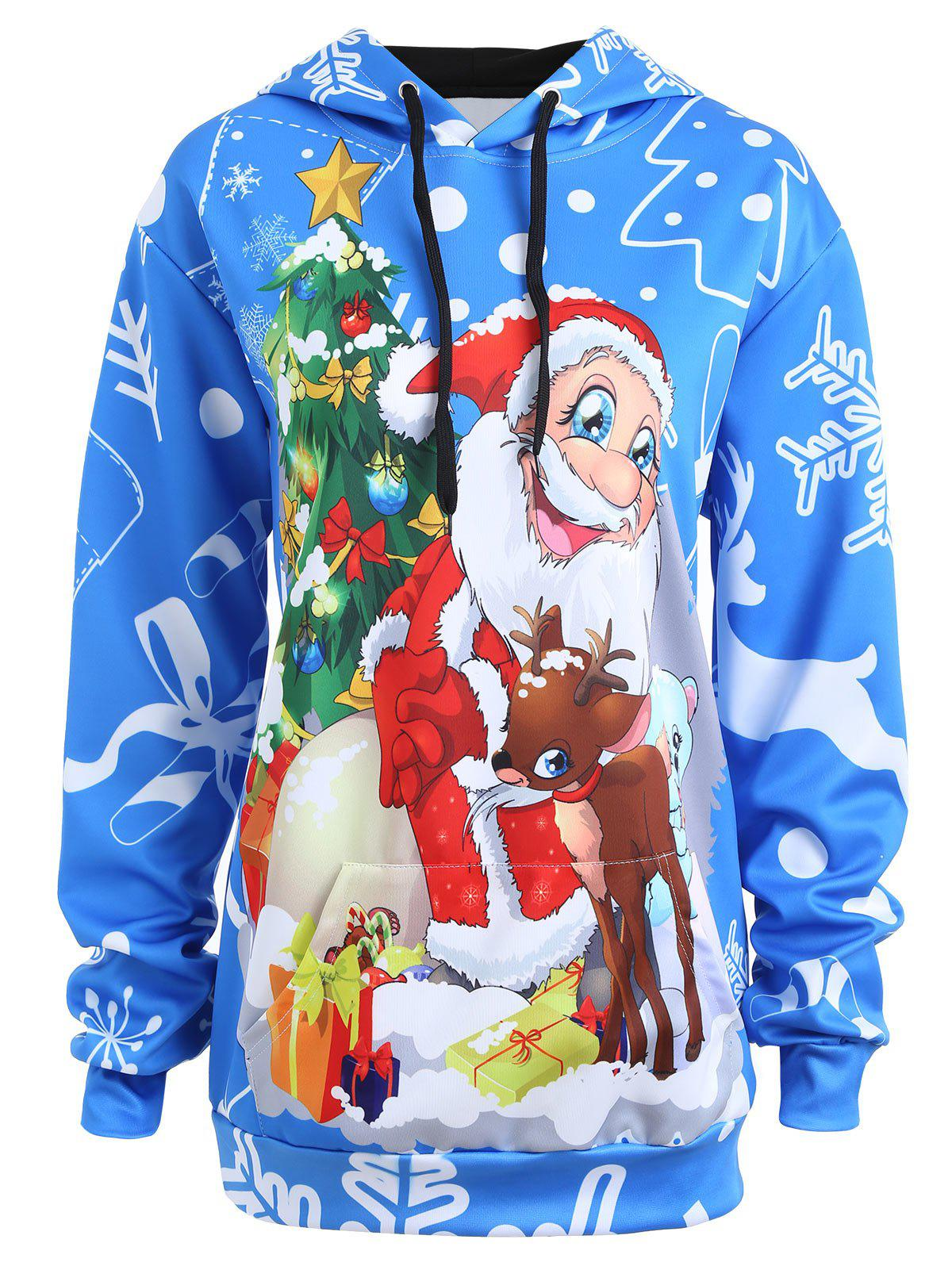 Plus Size Christmas Snowflake Santa Claus HoodieWOMEN<br><br>Size: 2XL; Color: BLUE; Material: Cotton,Polyester; Shirt Length: Regular; Sleeve Length: Full; Style: Fashion; Pattern Style: Animal; Season: Fall,Spring; Weight: 0.3500kg; Package Contents: 1 x Hoodie;