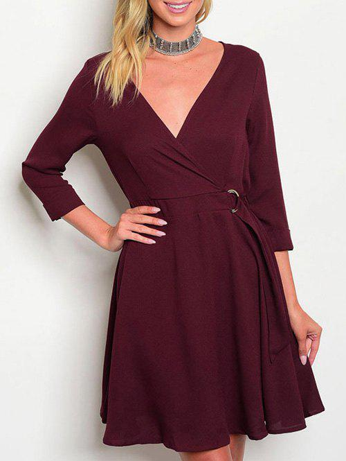 Chic V Neck Surplice A Line Dress
