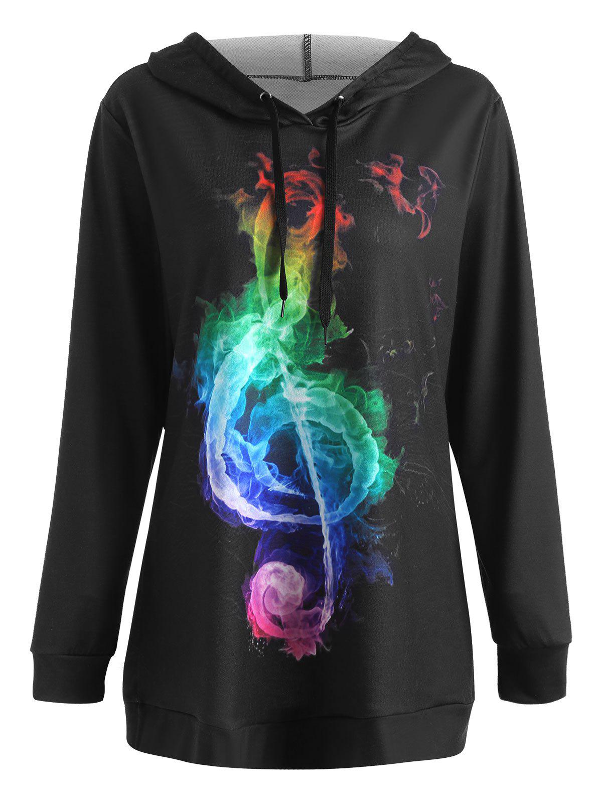 Plus Size Colorful Musical Note Graphic HoodieWOMEN<br><br>Size: 2XL; Color: BLACK; Material: Cotton Blend,Polyester; Shirt Length: Regular; Sleeve Length: Full; Style: Casual; Pattern Style: Print; Season: Fall,Winter; Weight: 0.4500kg; Package Contents: 1 x Hoodie;